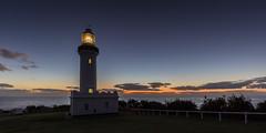 Before Dawn (ImagesByLin) Tags: ocean longexposure light sea lighthouse architecture sunrise canon fence landscape dawn coast coastline centralcoast norahhead norahheadlighthouse