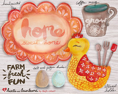 Farm Fresh Fun ceramic product concepts by Steph Calvert of Hearts and Laserbeams (Hearts and Laserbeams) Tags: chickens illustration hearts blog lifestyle eggs homedecor laserbeams productdesign productconcepts heartsandlaserbeams lifestyleblog stephcalvert