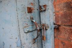Lock (StevenParsons42) Tags: door wood blue brick texture lock aged latch otley ls21