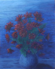Flowers in the Night (bridget281157) Tags: flowers blue light red moon green night vase acrylics chrysanthemums realistic