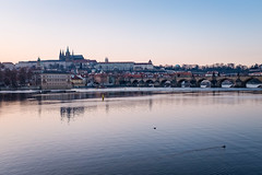 Sunset in Prague (Luca Quadrio) Tags: travel bridge blue sunset sky architecture river twilight europe czech prague charles praha praga landmark fujifilm cz repubblicaceca