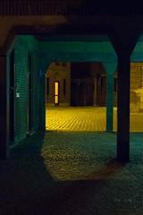 Yellow Light - Antwerp (mauriceweststrate) Tags: street door light lines yellow architecture night photography evening quiet belgium maurice sony pass peaceful calm serene antwerp passage tranquil antwerpen eveninglight gangway quietly yellew abstracht rx100 weststrate