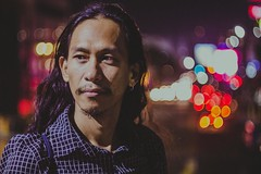 """Jaindra: The Changemaker"" (Hanz Florentino) Tags: street portrait night photography lights bokeh philippines cebu filipino helios"