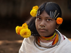 Tribe girl with flowers in the hair, Orissa, India (magbrinik) Tags: tribe orissa puri bihar girlportrait trib southestasia tribalportrait womanportrait indiaimages editorialportrait tribaljewellery colorfulportrait tribesofindia orissatribes remoteregion asiatribes orissaportrait tribesofasia