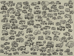 107 Vehicle Sketches (american_kabuki) Tags: bus truck wagon jeep box tricycle dumptruck pickup scooter concept renegade