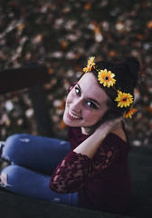 Juvenility (Enrico Cavallarin) Tags: flowers portrait girl smile youth laughing hair outside happy 50mm eyes young happiness portraiture crown freckles glance ritratto spontaneity girlhood flowerscrown