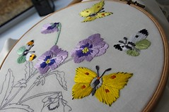 Work in progress (Blue sky and countryside.) Tags: england art thread colours pentax linen embroidery sewing skills hobby needle silks helenmstevens