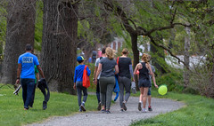 Getting Blown Home (Jocey K) Tags: trees newzealand christchurch people spring balloon pathway hagelypark