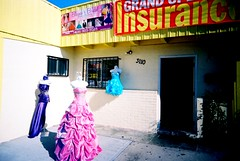 Fashion and Insurance (jfpj) Tags: california film fashion store lowresolution fuji toycamera formal sanjose dresses storefront bridal vivitar insurance plasticcamera trashcam fuji400film 10faves vivitarultrawideandslim