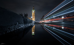 In The Gutter (ScottSimPhotography) Tags: road city uk travel bridge england london english wet water westminster rain thames night puddle lights evening europe cityscape nightscape britain sony famous capital sightseeing parliament bigben visit british lightstream a6000