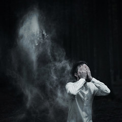 The Ghost of You (milanvopalensky) Tags: boy portrait white selfportrait man black male me fog self canon dark myself 50mm hand darkness czech you mark surrealism 14 ghost foggy ii 5d concept conceptual flour