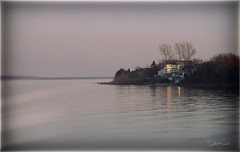 Beautiful evening (Stella_Kar) Tags: trip lake water reflections landscape evening town artistic michigan pastel destination upnorth upperpeninsula stignace northernmichigan saintigance