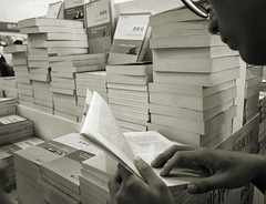Reading_bookpiles (Charles R. Yang) Tags: china history paper reading shanghai pages books bookstore read bookshop piles bookfair historybooks