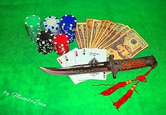 The secret to survivin'... (Mambo'Dan) Tags: gambling money cards digitalart poker digitalphoto photopainting expressionart