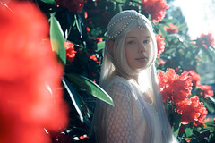 Red & Light (Tarla Walton) Tags: light red portrait sun white flower girl beautiful blossom wig rhododendron 52weekproject