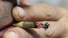 Aspiriamo il male per liberarcene dopo (PsychopathPh) Tags: camera old red portrait macro home flickr uomo flume barba fumo sigaretta labbra
