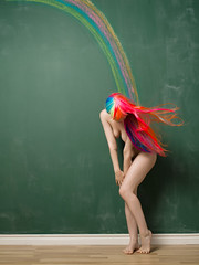 Chalkboard (Bruce M Walker) Tags: hair rainbow long wig chalkboard artnude impliednude pentaxart