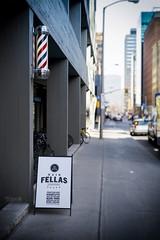 Barber's Pole (DHaug) Tags: ottawa hipster pole sidewalk barbershop april fujifilm haircuts vignette fellas 2016 barberspole shaves slaterstreet xpro2 classicchrome xf35mmf14r