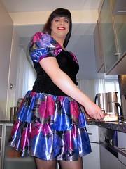 Kitchen girl (Paula Satijn) Tags: blue girl shiny dress silk skirt tgirl transvestite satin miniskirt gulr