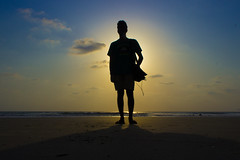 Silhouette (sushilpatro) Tags: sunset sea summer india beach reflections sand goa stories