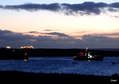January Dawn At Houton Bay (orquil) Tags: lighting uk greatbritain winter seascape silhouette ferry dawn islands bay scotland seaside orkney january illumination rig transfer accommodation cloudscape tanker roro lng houton scapaflow presunrise excelerate arcticprincess shiptoship thorsvoe safeboreas