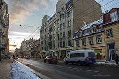 19/366 A.aka street (Una S) Tags: street city winter sunset cars buildings traffic slush latvia dirt busy riga latvija aka
