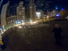 a selfish reflection (D-j-L) Tags: sky chicago reflection architecture night canon dark lights evening us illinois cityscape skyscrapers unitedstates cloudgate thebean anishkapoor selfie s100
