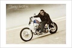 The Captain America (Emmanuel DEPARIS) Tags: beach vintage nikon harleydavidson moto rider emmanuel motard deparis franckykustom