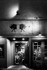 Enter (Culinary Fool) Tags: seattle bw bar night restaurant blackwhite washington october downtown wa cantina pioneersquare firstthursday cascoantiguo 2015 culinaryfool dard 18135mm brendajpederson