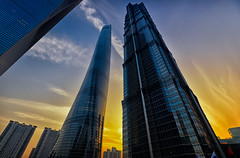 Shanghai Tower and Jin Mao Tower (Yohsuke_NIKON_Japan) Tags: china urban tower skyscraper nikon shanghai dusk wide structure business sfc jinmao hdr jinmaotower finance bulding swfc d600 1635mm shanghaitower colorefex lujiadu