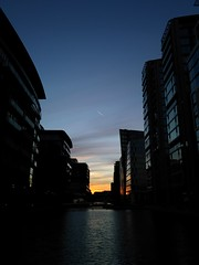 Trail (Jamie Barras) Tags: uk blue sunset england sky building london silhouette century evening canal office dusk 21st block february waterway 2016