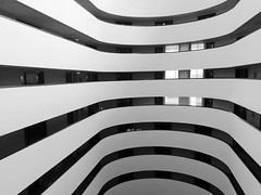 Atrium (marktmcn) Tags: windows blackandwhite holiday monochrome lines architecture floors mexico hotel inn curves bn lobby leon curved stories atrium monterrey nuevo buidling