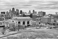 Kansas City Skyline in BW (rschnaible) Tags: city bw white black building skyline architecture landscape photography cityscape tour outdoor sightseeing monotone tourist missouri kansas