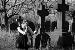 GCSE project - Victorian girl in cemetery (cdwpix) Tags: church girl cemetery death victorian graves grieve