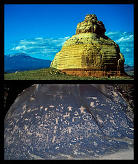 Two Rocks - Church and Newspaper (woodchuckiam) Tags: rock landscape scenic historical nativeamericans petroglyphs rockformations newspaperrock glyphs churchrock desertvarnish woodchuckiam utah211 newspaperrockstatehistoricalmonumentutah
