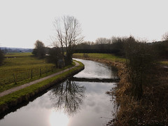 Year 2 Feb Caldon Canal (Alan FEO2) Tags: uk bridge trees england reflection grass clouds landscape outdoors path hedge stokeontrent year2 february curve bushes caldoncanal 12monthsofthesameimage 2oef
