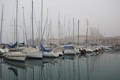 DSC_2182 (angie_amore7) Tags: old sea reflection water fog marina boats town slovenia koper