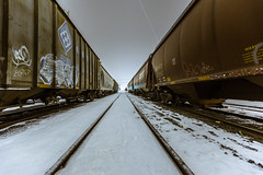 Lines (epmd) Tags: longexposure winter snow cold night airplane graffiti traintracks trains lighttrails