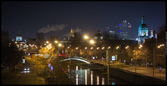 night Yauza river in Moscow. (urix5) Tags: road street sky panorama church night river lights skyscrapers russia moscow horizon embankment yauza