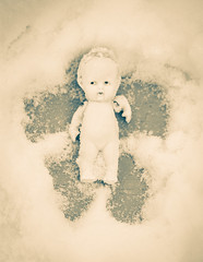 362/366 - Snow Angel (Randi Rains Johnson) Tags: stilllife baby cute angel vintage fun toy snowflakes miniature doll child play antique fat small bisque norman creepy belly german tiny chubby snowfall curlyhair 2012 winterweather wintergames 366 3651