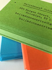 Belladonna business cards (artnoose) Tags: blue orange green typewriter metal set brooklyn cards berkeley stack business card tricolor font type custom letterpress collaborative typeface belladonna commissioned
