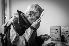Fish and Chip Supper (#Weybridge Photographer) Tags: old fish man west slr dinner canon menu lunch eos sussex restaurant bottle cafe knife fork chips east adobe vinegar supper dslr wittering lightroom 40d