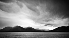 Monochrome mood (CNorthExplores) Tags: blackandwhite mountains water monochrome alaska moody cloudy turnagainarm explored
