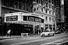 Stephen was on vacation (Dan Haug) Tags: newyorkcity blackandwhite newyork monochrome television theatre manhattan broadway comedian fujifilm davidletterman stephencolbert edsullivantheatre thelateshow livetelevision xt1 xf35mmf14r