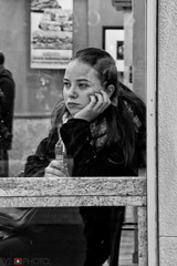 pondering in Chicago (nikoncameract) Tags: street bw girl beautiful sad thoughtful teen pondering
