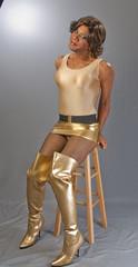 I'm Golden! (kaceycd) Tags: highheels boots s tgirl bodysuit miniskirt pantyhose crossdress spandex lycra tg leotard stilettos kinkyboots thighboots wetlook microskirt stilettoboots sexyboots