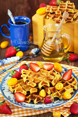 Pumpkin waffles for breakfast (Katty-S) Tags: blue light red food orange hot cup glass coffee yellow fruit pancakes breakfast square pumpkin table dessert lunch wooden strawberry berry sweet rustic spoon fresh delicious homemade honey mug jug belgian citrus waffle baked kumquat