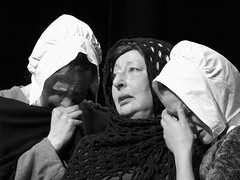 (Kelvin P. Coleman) Tags: nottingham portrait bw blancoynegro loss canon sadness women sad emotion noiretblanc theatre rehearsal stage crying performance scene powershot actor shawl drama bonnet schwarzweiss performer groupshot grief grieving bereft tearful bereavement