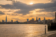 """London skyline at sunset, with """"Another TIme"""" statue by Antony Gormley in the foreground (godrick) Tags: uk england sculpture london cityscape publicart antony gormley gbr anothertime"""
