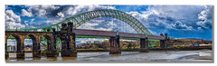 Runcorn Railway Bridge (Kevin From Manchester) Tags: bridge england sky panorama skyline architecture clouds river landscape canal colours waterfront cheshire natural outdoor colorfull panoramic serene 1855mm archways scenics runcorn widnes rivermersey canon1855mm colurfull kevinwalker runcornrailwaybridge